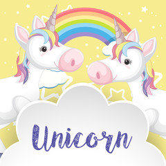 Two unicorns and rainbow on poster