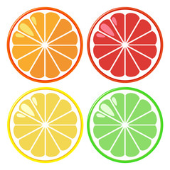 Four slices of oranges in four colors