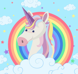 Unicorn on rainbow background