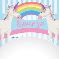 Poster design with unicorns and rainbow