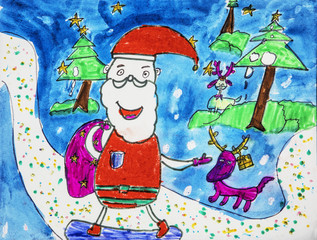 Childs watercolor drawing of Santa Claus