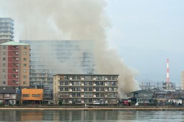 住宅街の火事