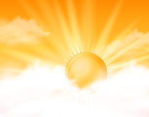 Bright sun in orange sky