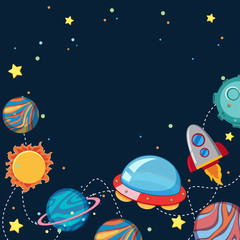 Background design with UFO and planets