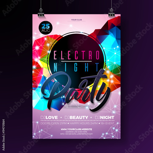 Night Dance Party Poster Design With Abstract Modern Geometric Shapes On Shiny Background Electro Style