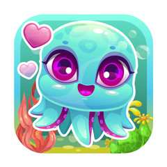 App icon with funny cartoon little baby octopus