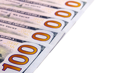 The number one million is laid out of five hundred dollar bills on a white background. Wealth and cash account. Isolated. Copy space. Close-up.