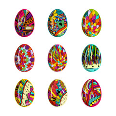 Easter eggs set with floral patterns