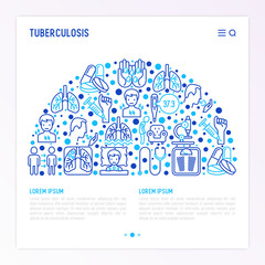 Tuberculosis concept in half circle with thin line icons: infection in lungs, x-ray image, dry cough, pain in chest and shoulders, Mantoux test, weight loss. Vector illustration, web page template.