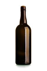 Empty wine bottle of dark glass