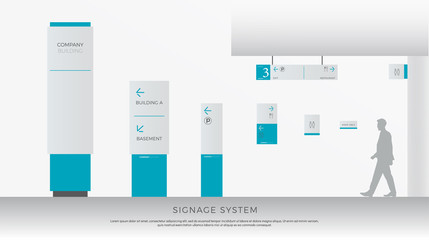 exterior and interior signage system. direction, pole, wall mount and traffic signage system design template set. empty space for logo, text, white and blue corporate identity