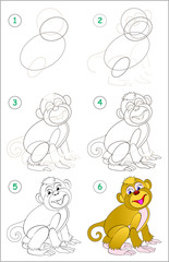 Page shows how to learn step by step to draw a cute monkey. Developing children skills for drawing and coloring. Vector image.