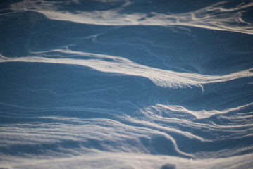 after Arctic Storm. Close-up shot of snow desert in Odessa