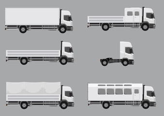 Trucks and industrial vehicles, set of illustrations