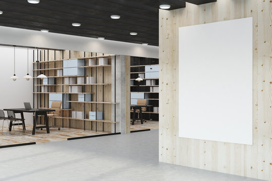 Modern library with empty poster