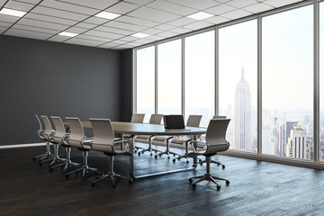 Clean conference room with city view