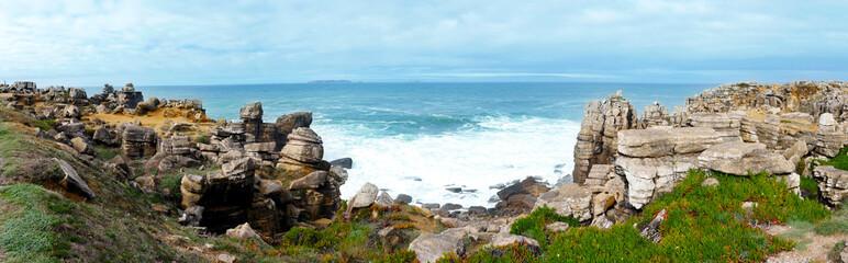 Peniche, coastal landscape with rocks and the sea
