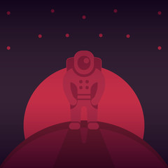astronaut on another planet, human mission to mars, space exploration, interplanetary travel, vector illustration