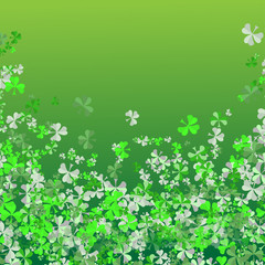 Saint Patrick's day Festival. Irish celebration .Green clover shamrock leaves on green background for poster, greeting card, party invitation, banner other users Vector illustration