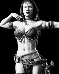 Warrior amazon woman with sword. Long dark hair.Muscular athletic body.Girl standing candid provocative aggressive pose.Conceptual fashion art.Realistic 3D rendering isolate illustration.Black white.