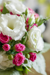 wedding bouquet from pink and white roses