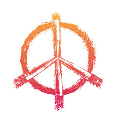 Peace sign with bullets, fiery on white, vector illustration