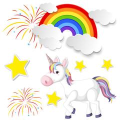 Cute unicorn and rainbow on white background
