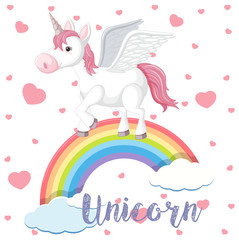 Unicorn with wings over the rainbow