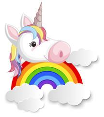 Unicorn head on the rainbow