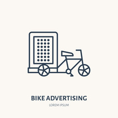 Bike advertising flat line icon. Outdoor marketing sign. Thin linear logo for transit ads.