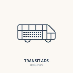 Bus advertising flat line icon. Outdoor marketing sign. Thin linear logo for transit ads.