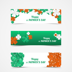 Set of St Patrick's Day Vector banners with shamrock. Lucky spring symbol. Paper Clover flowers in Irish flag colors - green, white and orange.  Border and frame - stock vector