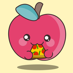 Kawaii illustration of an cute red apple eating pepperoni and pepper pizza. Healthy food eating fast food. Now we've seen everything!