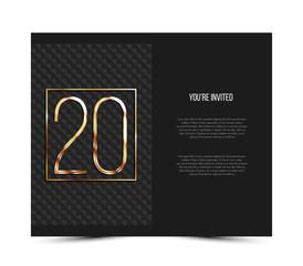 20th anniversary decorated invitation card template.