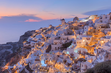 Idyllic view on traditional architecture of Santorini at dusk