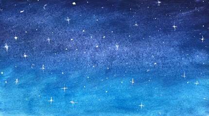 Blue starry sky in watercolor
