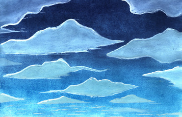 Sky with clouds in watercolor