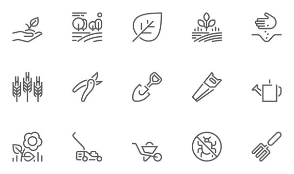 Set of Gardening Line Icons with Seeding, Flowers, Tools and more. Editable Stroke. 48x48 Pixel Perfect.