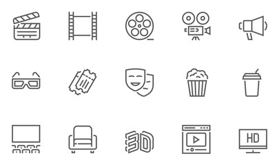 Set of Cinema and Entertainment Vector Line Icons with Movie Theater, Film Strip, Popcorn, Video Clip, 3d Glasses and more. Editable Stroke. 48x48 Pixel Perfect.