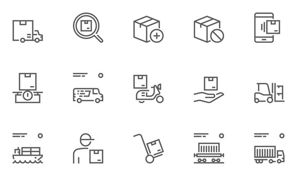 Set of Logistics, Delivery, Transportation Line Icons with Courier, Shipping, Van, Freight Transportation and more. Editable Stroke. 48x48 Pixel Perfect.