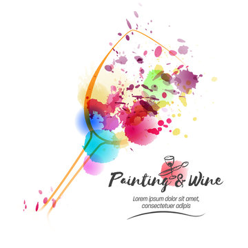 Idea for painting and wine event promotion. Illustration of wine glass and colorful spots. Art and wine.