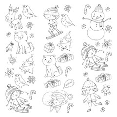 Merry Christmas celebration with children. Kids drawing illustration with ski, gifts, Santa Claus, snowman. Boys and girls play and have fun. School and kindergarten, preschool children