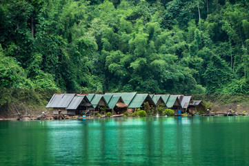 Small indigenous settlement on the banks of a river in the jungle