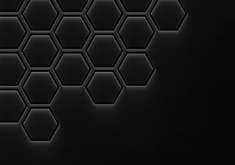 3d rendering. Abstract connected black Hexagon shape on copy space background.