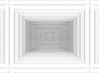 3d rendering. abstract white rectangle frame wall background.