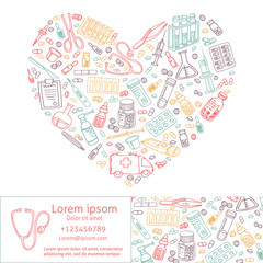 medicine doodles shaped in heart. vector template