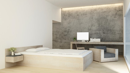 Bedroom and living area in hotel or condominium simple design - Bedroom and workplace concrete wall in apartment or home  - 3D Rendering