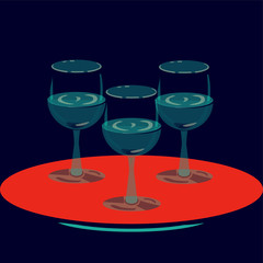 Pop art vector illustration for hotels and restaurant interior: three wine glasses.