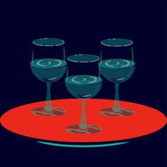 Pop art vector illustration for hotels and restaurant interior: three wine glasses.