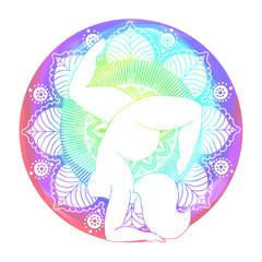 Yoga - woman silhouette on the energy background mandala, colors, vibration.